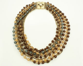 "Brown Peach Gray Gold Tone Torsade Necklace - Vintage Glass Bead Multi Strand Collar Statement Necklace 17"" Long - Vintage Beaded Jewelry"