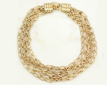 Vintage Donald Stannard Gold-Tone Multi Chunky Chain Link Statement Necklace - 1980s Signed Costume Jewelry