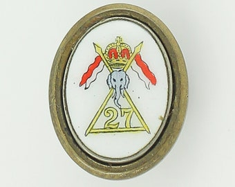 Antique Masonic or Fraternal Clip Pin - Enamel Elephant Crown 27 in Triangle Badge - Vintage Memorabilia Jewelry