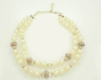 Vintage White Moonglow Plastic Beaded Necklace - Double Strand Cream Beads Crystal Gold Tone Pink and Blue Accents - 1950s Vintage Jewelry