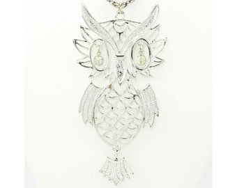 1960s Articulated Owl with Rhinestone Eyes Pendant Necklace - Mod Mid-Century Oversized Silver Tone Bird Totem Rope Chain - Vintage Jewelry