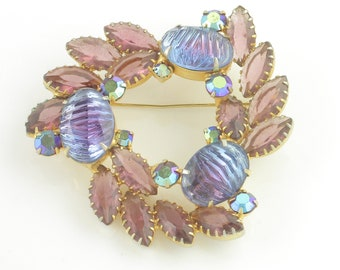 1960's Vintage Striking Lavender Purple Art Glass Rhinestone Brooch - Aurora Borealis Crystal Triangular Pin - Vintage Costume Jewelry