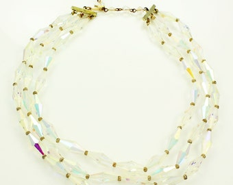 Crystal Aurora Borealis Beaded Necklace - Triple Strand Collar of Elongated Bicone Beads c 1960 - Vintage Jewelry