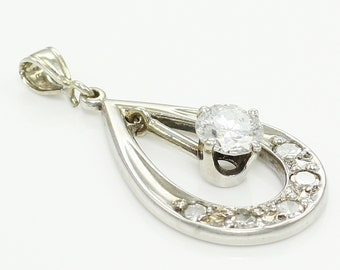 Retro 14K White Gold .50 CT Diamond Dangle Pendant - 1960s Natural Diamond Teardrop Necklace Charm - Mid Century Jewelry