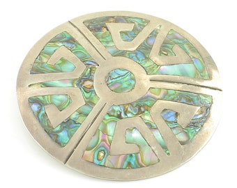 Abalone Sterling Glyph Pendant Brooch - Taxco Mexico 925 Silver Shell Pin - FS Eagle Mark 3- 13.1 grams 2 inches - Vintage Estate Jewelry