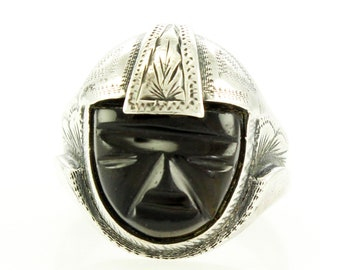 Vintage Mexican Silver Black Onyx Mask Ring - Sterling 1940s Carved Engraved Ring - Mexico Jewelry - Size 8 1/4
