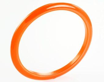 Vintage Bright Orange Bakelite Stackable Bangle Bracelet - Vintage Plastic Jewelry - World War II Era Jewelry