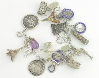 Sterling Silver 17 Charm Loaded Bracelet - Vintage Fancy Figaro Link Bracelet - 7.25 inches - Circa 1960 - Sentimental Retro Jewelry