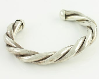 Vintage Sterling Silver Triple Twist Cuff Bracelet - Eighties Chunky Statement Cuff - 7 inches - 39.9 grams - Vintage Jewelry