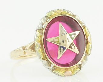 Ladies Eastern Star 10K Created Ruby Ring - Vintage OES Ring Size 6.5 - Circa 1940 - Vintage Fine Fraternal Jewelry