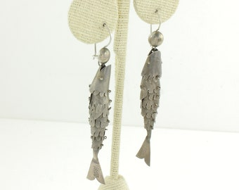 Articulated Fish Vintage Mexican Silver Earrings - Pierced Angler Dangles - 5g 2.75 Inch - Mexico Silver Pre Eagle - Estate Vintage Jewelry
