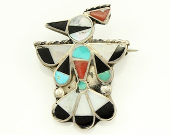 Vintage Boho Silver Inlaid Stone Small Thunderbird Pin - Southwestern Peyote Bird Brooch of Sterling Silver Turquoise Coral Mother of Pearl