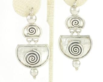 Bold Silver Spiral Artisan Dangle Earrings - Eighties Retro 925 Sterling Silver Hammered Drop Earrings - 2 1/2 inch - Vintage Fine Jewelry