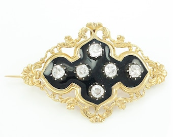 Georgian Regency 18K Old Mine Cut Diamond & Black Enamel Mourning Brooch - Antique Yellow Gold 1.85 CT TW OMC Natural Diamond Pin c1820
