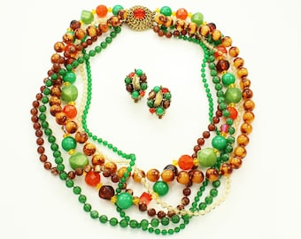 Selini Torsade Necklace and Earrings - Green Orange Brown Multi Strand Beaded Necklace - Vintage Sixties Signed Costume Jewelry