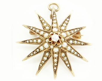 Antique Victorian Solid 14K Gold Old Mine Cut Diamond Natural Seed Pearl Starburst Star Pin Pendant Brooch