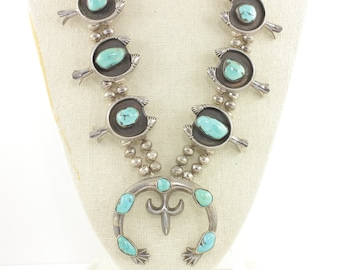 Vintage Turquoise Sterling Silver Squash Blossom Necklace - Sand Cast Friendship Hand Naja Blossoms - 265g - Vintage Southwestern Jewelry