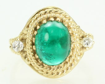Vintage 14K Linde Created Emerald Cabochon YAG Rope Bezel Ring - Man-Made Hydrothermal Emerald Jewelry - 1960s 14K Yellow Gold Estate Ring
