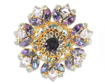 1950s Vintage Purple Austrian Colored Rhinestone Filigree Brooch Pin - Estate Jewelry - Vintage Costume Jewelry
