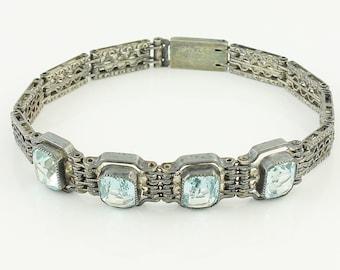 Art Deco Sterling Fiigree Line Bracelet Blue Lab Spinel - Wells Sterling Silver Link Bracelet Created Blue Spinels - Vintage Bridal Jewelry