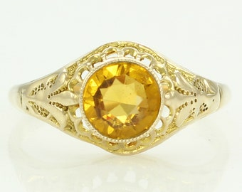 Antique 10K Yellow Topaz Colored Paste Stippled Filigree Ring Size 7.5 - Filigree Edwardian Lady's Ring - Estate Vintage Jewelry