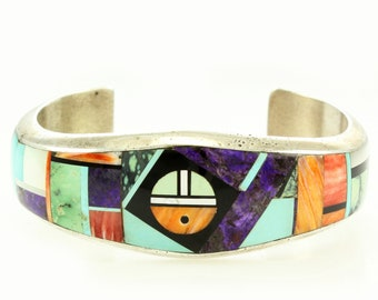 Frank Yellowhorse Navajo SunFace Multistone Inlay Sterling Cuff Bracelet - Vintage Native American Silver Bracelet Fits Up To 6 3/8""