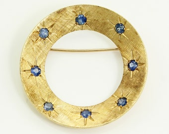 Vintage 14K Natural Sapphire Circle Brooch - 1960s Yellow Gold Pin - Mid-Century Jewelry