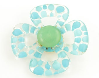 1960's Vintage Turquoise Blue Polka Dot Clear Lucite Flower Brooch - Mod Flower Jewelry - 1960s Costume Jewelry