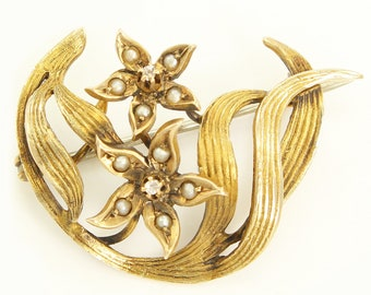Antique Art Nouveau 14K Diamond Seed Pearl Forget Me Not Posies Whiplash Brooch Pin