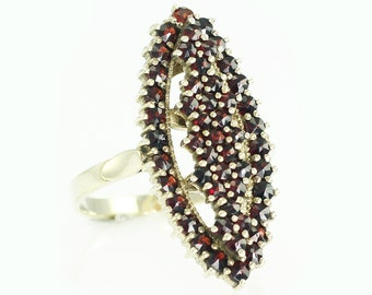 "Vintage Elongated Marquise Bohemian Garnet 900 Silver Gilt Ring 1 1/16"" long"