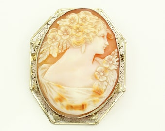 Antique 14K White Gold Carved Shell Cameo Brooch Pendant - Edwardian Lady and Flowers Pin with Filigree and Dove Bezel - Estate Jewelry
