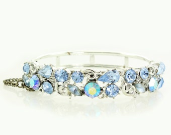 Vintage Lisner Silver Tone and Ice Blue Rhinestone Hinged Bangle Bracelet - 1960s Retro Signed Designer Costume Jewelry