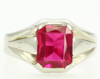 Mans Art Deco Created Ruby Ring - Vintage 10K White Gold Gents Fine Jewelry