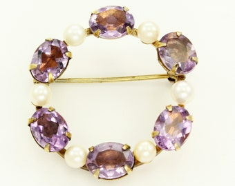 Vintage Amethyst Cultured Pearl Circle Pin Brooch Signed H.G. 1/20 12K G.F. - Gold Filled Estate Jewelry
