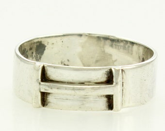 Mid Century Modern Sterling Silver I or H Band - Custom Made Modernist Silver Ring - Vintage Fine Jewelry