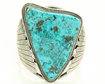 Vintage Southwestern Giant Morenci Turquoise Sterling Cuff Bracelet - 1970s Sterling Silver Jewelry