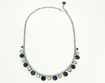 Blue Rhinestone Choker Necklace - Vintage Baby and Sapphire Blue Aurora Borealis Crystal Collar - Vintage Jewelry