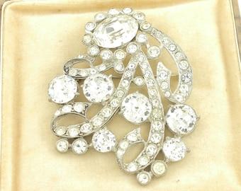 Vintage Staret Rhinestone Brooch - Huge Stunning 1940s Pin - Vintage Signed Costume Jewelry - Hard to Find