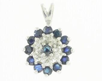 Sapphire Diamond Cluster Pendant - 10K White Gold .05 Carat Natural Diamond Enhanced Sapphire Dainty Floral Starburst - Fine Estate Jewelry