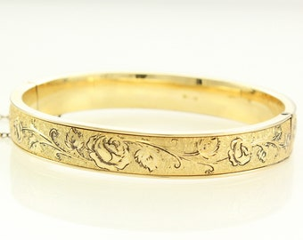 Gold Filled Flower Bangle - 12K GF Bracelet by Winard - Rose Engraved Taille d'Epargne Enamel - Victorian Style Jewelry