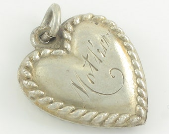 Vintage Silver Engraved Mother Puffy Heart Bracelet Charm - Sterling Rope Trimmed Puffed Heart Pendant - 1 gram circa 1940 - Vintage Jewelry