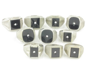 Silver Onyx Signet Ring Lot - 10 Vargas Sterling Silver Black Onyx Signet Rings for Monogram - New Old Stock - Vintage Fine Jewelry