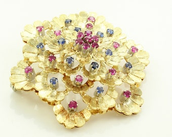 Vintage 18K Ruby and Sapphire Flower Brooch Pin - 1960s Italian Yellow Gold Jewelry
