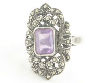 Silver Amethyst Marcasite Statement Ring - 925 Sterling 2 CT Natural Amethyst Lady's Ring - 6.2 grams Size 6.5 circa 1980 - Vintage Jewelry