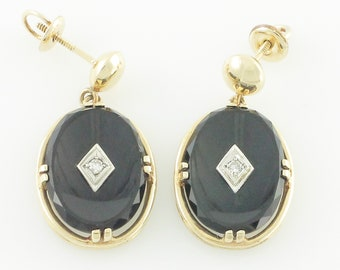 Black Onyx Diamond 10K Earrings - Vintage Dangle 10K Yellow Gold Black Onyx .08 CT Diamond Drop Earrings - 1940s Vintage Jewelry