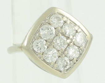 Vintage Diamond Cluster Ring 1.5 CT TW - Mid-Century 14K White Gold 9 Stone Rhomboid Ring - 4.4 gram Size 3.75 - Vintage Estate Jewelry