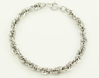 Vintage Chunky Sterling Silver Rope Chain Bracelet 7 Inch - Rhodium Plated 925 Silver Bracelet - Estate Jewelry
