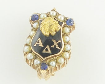 Alpha Delta Chi Lion Sorority Shield Badge Pin - 10K Yellow Gold Cultured Pearls Created Sapphires Black Enamel - Vintage Fraternal Jewelry