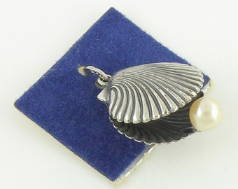 Vintage Beau Sterling Sea Shell Charm - 925 Sterling Silver Faux Pearl Scallop Shell Pendant - Never Worn - Circa 1960 - Vintage Jewelry