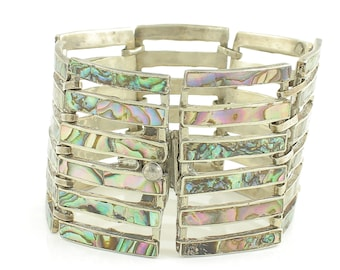 Vintage Sterling Abalone Shell Bracelet - Mexican Silver Gate Link Panel Wide Bracelet - Taxco 35.8 gram circa 1940 - Vintage Jewelry